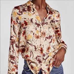 ZARA basics collection button floral blouse